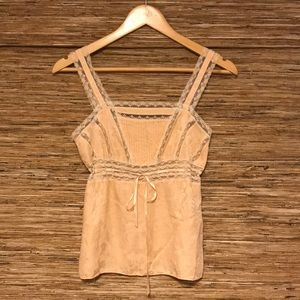 VINTAGE - floral silk and lace tank